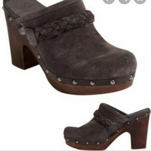 Ugg Brown Heeled Suede Clogs Sz8